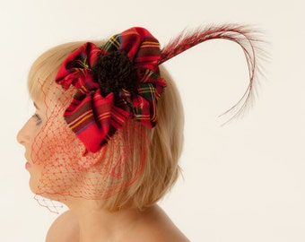 Tartan Fascinator, Cocktail hat millinery Royal Stuart pattern - perfect for Scottish style weddings, races, Ascot, Kentucky Derby, Pr
