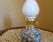 Vintage Lefton Hand Painted Mini Hurricane Oil Lamp.- Mint Condition.  Pretty Blue and Gold Paisley Design.