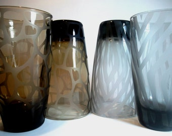 Etched glassware with giraffe and zebra print.  Colored glass, animal print home decor. Set of 4.