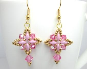 CLEARANCE Pink swarovski earrings, rose pink earrings, pink and gold earrings, superduo earrings, super duo earrings, pink crystal ER016