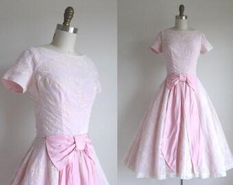 "CLEARANCE 1950s Party Dress / Vintage 1950s Formal Dress / Pink Flocked Chiffon Dress 26"" Waist"