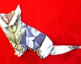 origami dollar cat