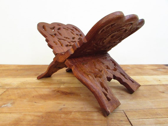 Wooden Bible Stand ~ Vintage carved wooden book holder wood stand