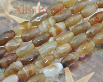 Banded Agate,faceted drum,7x14mm,beads,15 inches