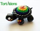 Black and Rainbow Turtle Figurine