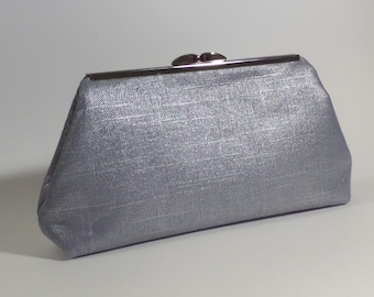 Light Blue and Silver Metallic Linen Clutch