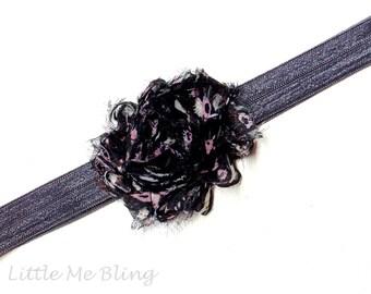 Baby Headband Black Vintage Floral - Gift or Photo Prop - Newborn Infant Toddler Girl Adult Elastic Bow Baby Shower Gift