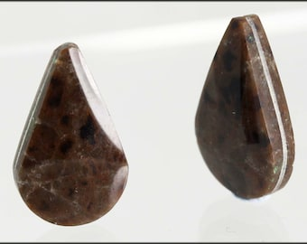 Semi precious stones -  Sold in Pairs              Obsidian Opaque