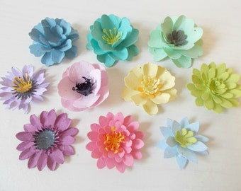 Plantable Paper Flowers Sample Pack - Mix of 10 Flowers - Unique Hostess Gift - Eco Friendly Wedding Favors - Plant and Grow!