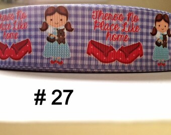 "3 or 5 yard - 1"" Wizard Of Oz Inspired Dorothy There is No Place Like Home Grosgrain Ribbon  Hair bow"