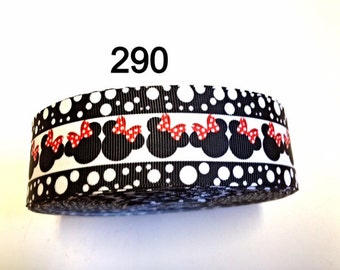 """3 or 5 yard - 1.5"""" Minnie Mouse inspired with Polka Dot Border Grosgrain Ribbon Hair bow"""
