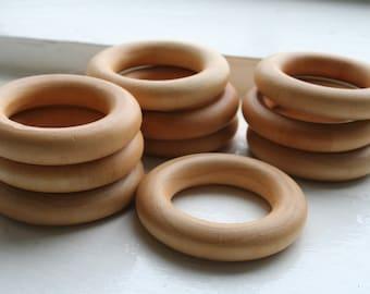 10 Wooden Teething Rings - Montessori Inspired (Pacifier)