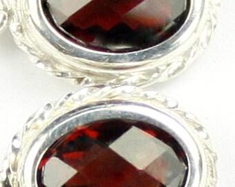 Mozambique Garnets, 925 Sterling Silver Leverback Rope Earrings, SE006