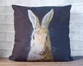 Black blue linen pillow case with rabbit print-decorative throw pillow cover - bunny print cushion cover - kids pillow