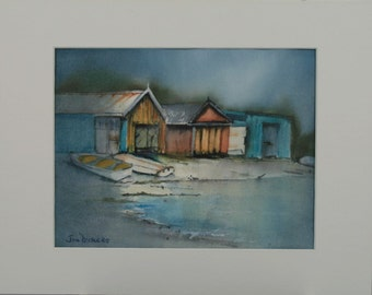 Boat houses in Tasmania, giclee print of an original watercolour and gouache painting.