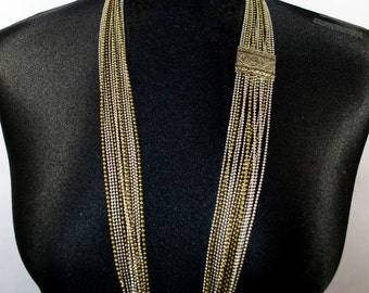 Vintage, Multistrand Brass & Stainless Steel Chain Necklace.