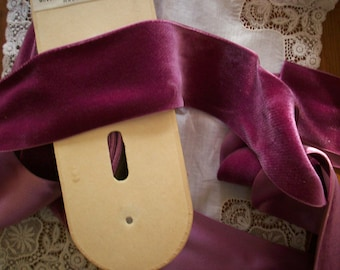 """1 yd. Antique Silk Velvet  2"""" Wide Yardage Old Stock Never Used Luscious Fuchsia Color"""