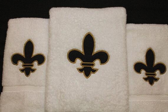 Fleur de lis applique towel set - Fleur de lis bath towels ...