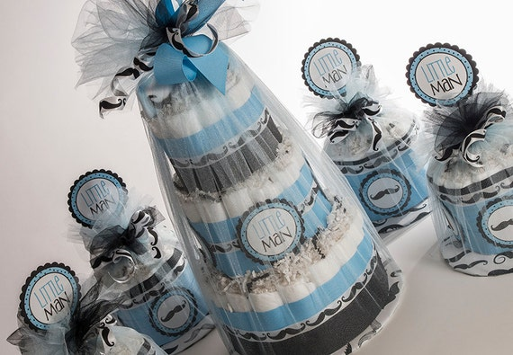 "The "" Classy Little Man"" Mustache Diaper Cake and Set of Four Mini Diaper Cakes . Baby Shower Gift and Centerpieces."