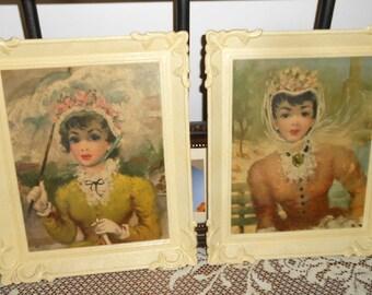 Pair Of Vintage Pictures, Ladies Prints, Vintage Pictures, Victorian