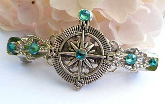 Small hair clip in turquoise silver with compass, nautical, navigation, rhinestone hair jewelry, compass rose, sea, exclusive hair jewelry