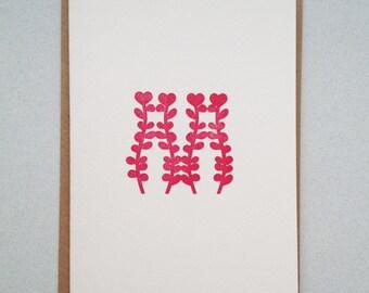 Anniversary, Letterpress hand printed card