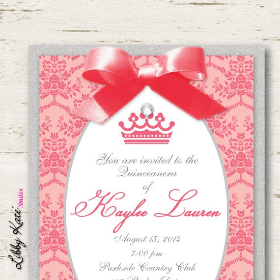 Coral Quinceanera Invitations and get inspiration to create nice invitation ideas
