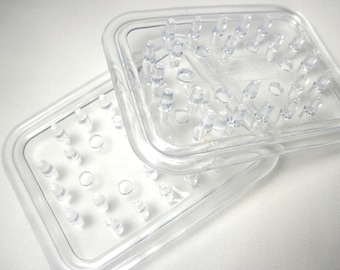 4 Clear Plastic Soap Savers - Soap Dish - Bar Soap Solution - Soap Holder - Home organization  - Flexible Soap Soap Saver