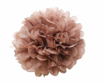 Brown Wedding Tissue Paper Pom 1 Large 14 inch Tissue Paper Flowers For Wedding Nursery Shower Party Decoration