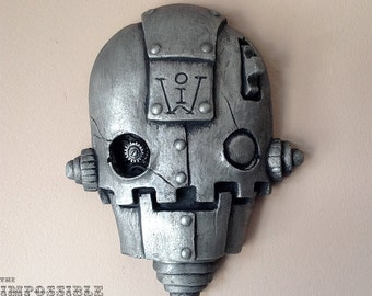 "SteamPunk Robot Sculpture - ""The SkullBot"" with Pewter Finish, Gear robot art, streetart, home and garden decor, Scifi Robot Artwork"