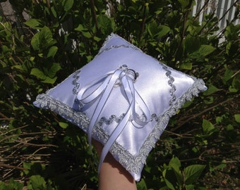 White Color Satin Fabric With Decoreted Silver Color Cutwork Wedding Ring Pillow