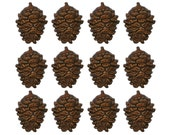 12 Holiday Pine Pinecone 13/16 inch (20 mm) Novelty Sewing Buttons Brown