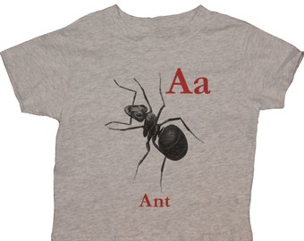 A for Ant  English Alphabet  Infant Toddlers Kids 100% Cotton Rabbit Skin T-shirt