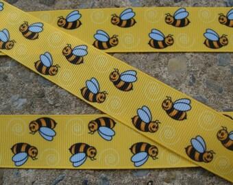 "Bee ribbon 4 yards Little Bumble Bee Ribbon 1"" Hair Bow Ribbon"