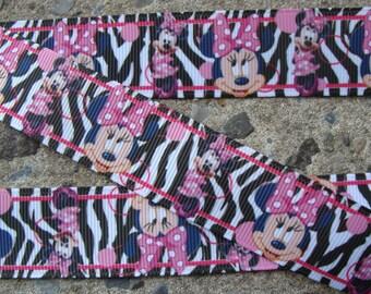 "3 yards Zebra Ribbon Hair Bow Supplies Hair Bow supply hair bow ribbon Zebra Minnie Mouse Printed Ribbon 7/8"""