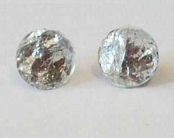 Pretty Small Round Clear Crystal Silvery Rhinestone Pierced Stud Earrings