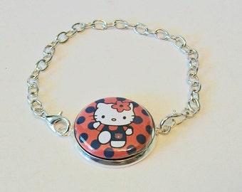 New Blue and Orange Polka Dot Tiger Cheerleader Silver Chain Fashion Bracelet