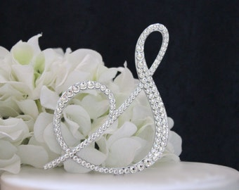 """5"""" Monogram Wedding Cake Topper Decorated with Swarovski Crystals in Any Letter A B C D E F G H I J K L M N O P Q R S T U V W X Y Z"""