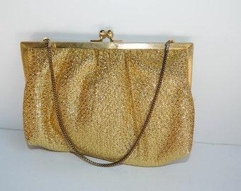 SALE Was 16.54 Now 15.00 Vintage 1970s Gold Lame Evening Bag