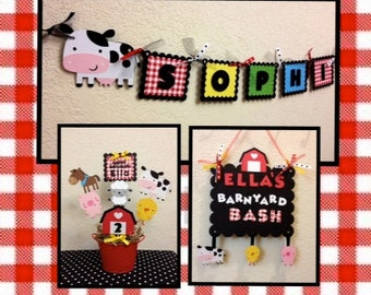 Farm Barnyard Birthday Decorations Package/Lot - Centerpiece, Banner and Sign - Baby Shower Decorations