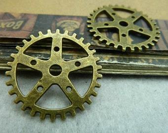 10pcs 25mm Antique Bronze Gear Watch movement Pendant