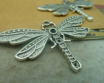 3 pcs 41x72mm Antique silver Huge Large Heavy Dragonfly Dragonflies Charms Pendants