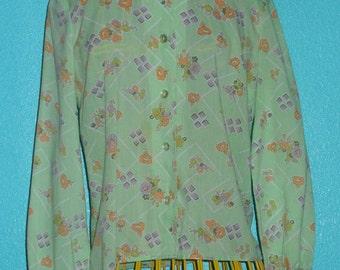 Vintage 1970s Mint Color Soft Poly/cotton Ladies Shirt — Size M