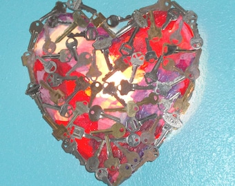"OOAK Trash Art ""Key to my Heart"" Recycled Keys Night Light Handmade Valentine Outsider Art Lighted Wall Sconce"