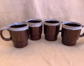 Vintage, Retro Stackable, Japan Made, Coffee Mugs