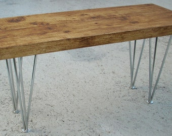 Rustic pine bench with 3 bar chrome legs modern industrail