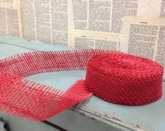 Red Burlap Ribbon. 1.5 inches wide by 10 yards