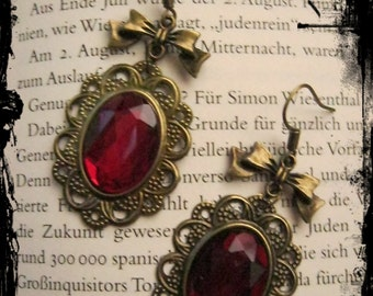 Earrings in bronze with loop and stones in different colors