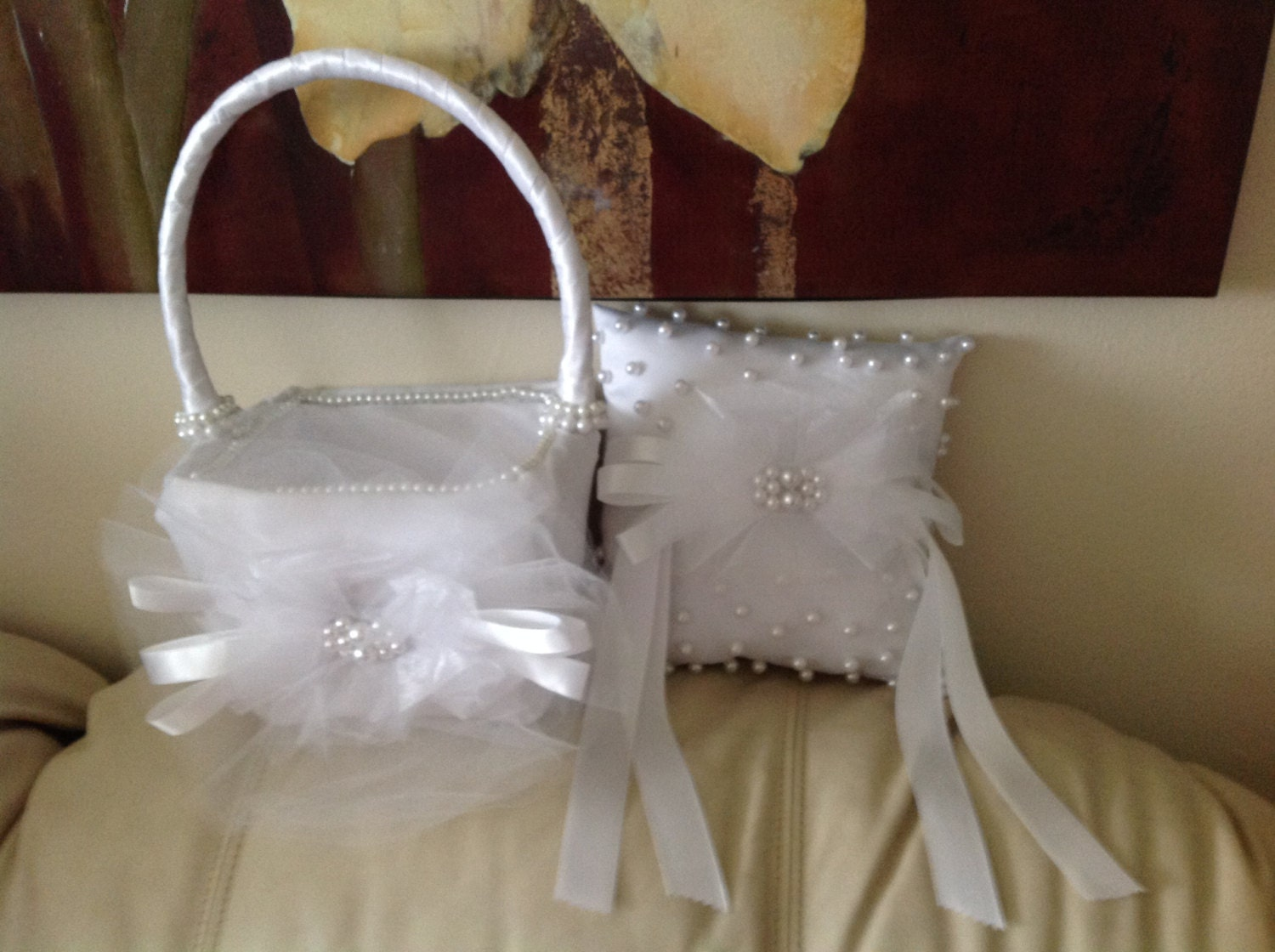 Flower Girl Baskets And Ring Pillows : Ring bearer pillow and flower girl basket