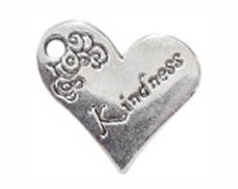 6 Silver Kindness Affirmation Heart Charm Pendant for Inspiration Jewelry 18x21mm by TIJC SP0304